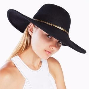 Bcbgmaxazria Black Studded Floppy Hat